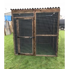 6 fully boarded panels, 1 mesh panels, 1 door and 2 black waterproof roof 6ft x 6ft 16G