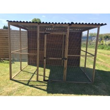 Animal Enclosure 6FT x 9FT With Waterproof Roof & 1 Fully Boarded Side.