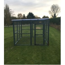 Large 10ft x 8ft 16G Animal Run In Blue Clear Waterproof Roof.