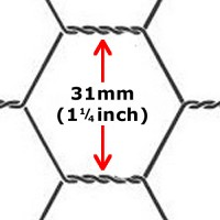 "Chicken / Rabbit Wire 1200 x 31 x 50mt (4ft with 1.1/4"" hole x165ft) 19G"